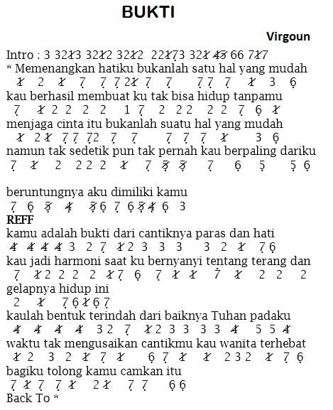 not angka lagu bukti