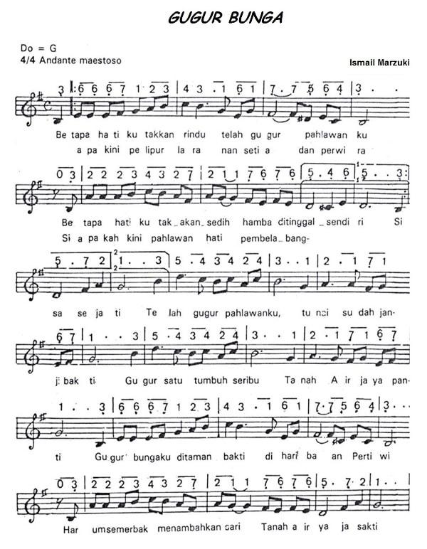 not lagu gugur bunga