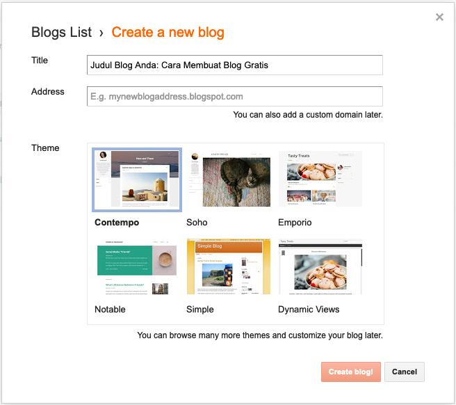 cara membuat blog gratis judul domain template