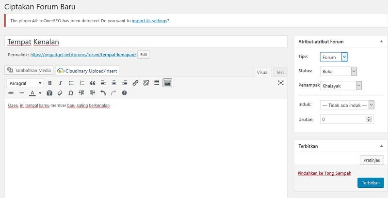 cara membuat forum blog wordpress bbpress
