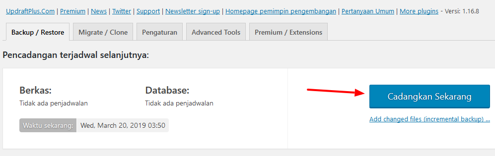 cara mudah membuat backup blog wordpress manual dan otomatis