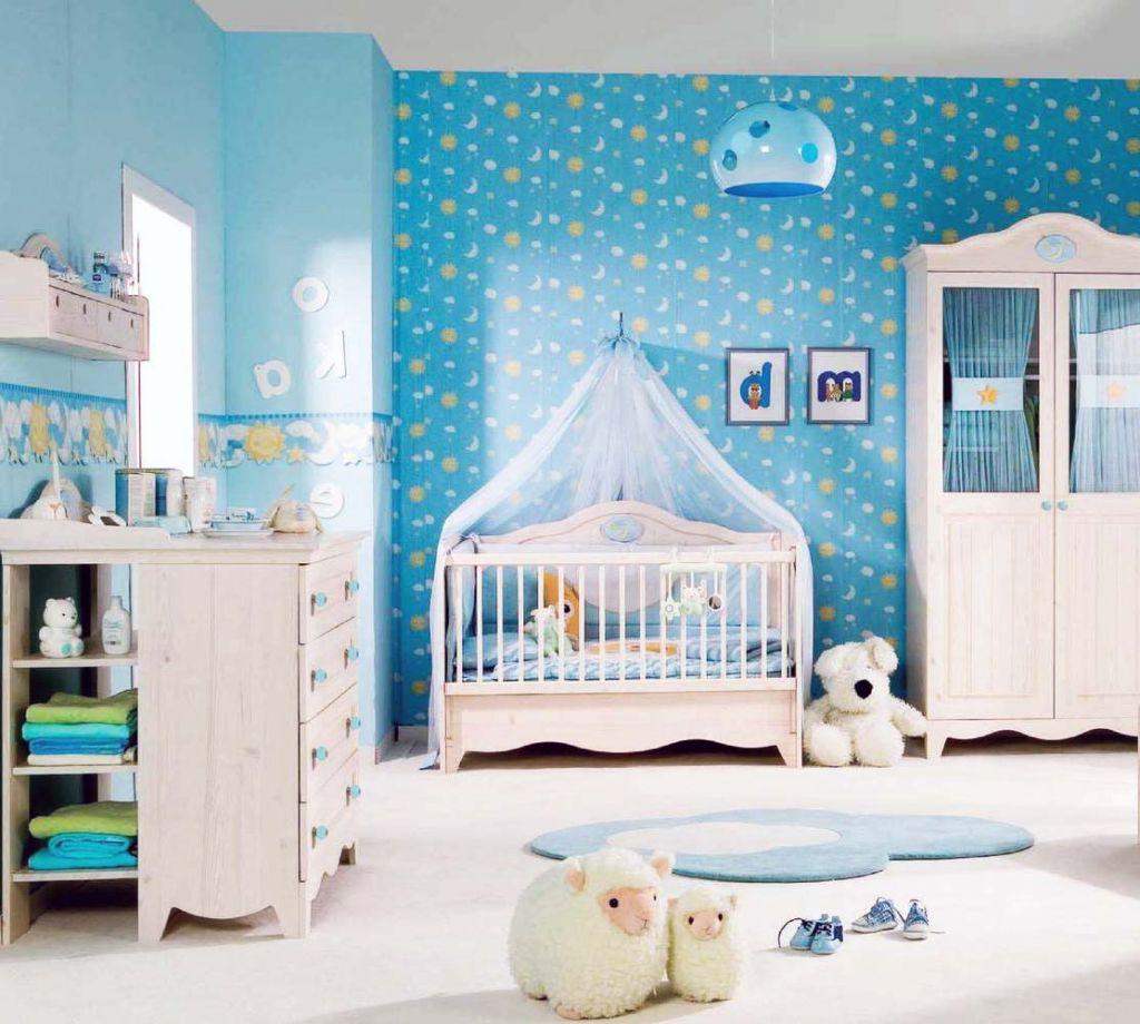 kamar tidur bayi warna biru