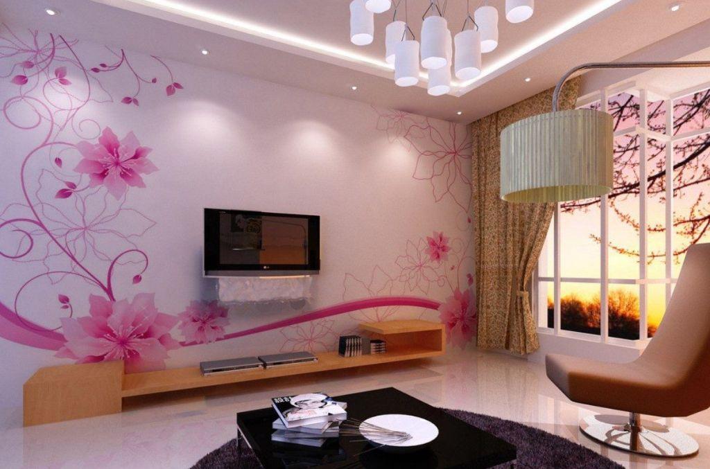 motif wallpaper dinding ruang tamu